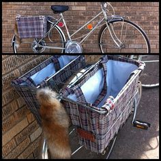 Bike Basket Shopping Bag/Tote Liners (navy/red tooth plaid)