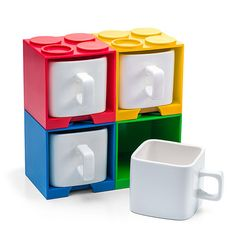 Stackable Brick Mugs for LEGO Lattes