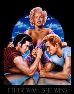 Marilyn, Elvis and James.