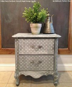 Add finishing touches to your DIY furniture projects! You can paint and stencil areas such as dresser drawers, table tops, or even the insides of cabinets. Hand Painted Furniture, Paint Furniture, Repurposed Furniture, Cheap Furniture, Furniture Projects, Furniture Makeover, Furniture Decor, Living Room Furniture, Furniture Design
