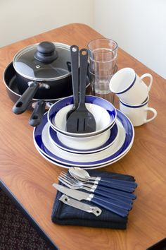 Dish pack-Includes plates, bowls, glasses, mugs, pots and pans, and silverware for two! ONLY $29.99 and YOURS to keep when you leave!