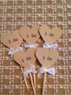 Heart I Do Cupcake Toppers | 12 | Rustic Wedding Decor | Engagement Party…