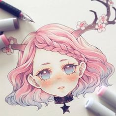 Manga Drawing Design Virgo ♍️ ______ Which zodiac would you like to see next? Copic Drawings, Kawaii Drawings, Cute Drawings, Copic Marker Art, Copic Art, Arte Do Kawaii, Kawaii Art, Anime Chibi, Anime Art Girl