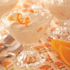 Orange Whip - 1 can (11 ounces) mandarin oranges, drained and patted dry, 1 cup (8 ounces) vanilla yogurt, 2 tablespoons orange juice concentrate, 2 cups whipped topping. In a large bowl, combine the oranges, yogurt and orange juice concentrate. Fold in whipped topping. Spoon into serving dishes. Cover and freeze until firm. Remove from the freezer 10 minutes before serving.Yield:4 servings.