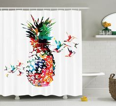 Riyidecor Colorful Pineapple Shower Curtain 72x78 Inch Free Metal
