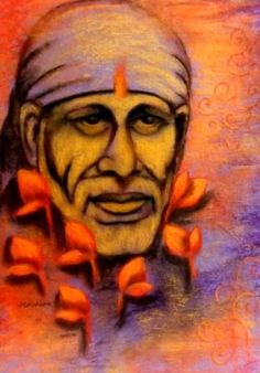 Shirdi Sai Baba With Lotus Flowers Painting, Sai Baba Paing Indian Contemporary Painting, Colorful Textured Indian Traditional Painting, Handmade Paper, Wooden Frame For Sale