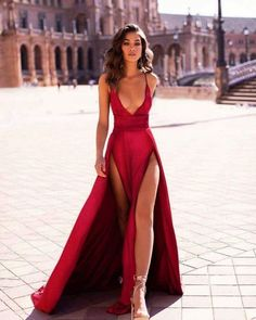 Evening Dress ,Thigh High Slits Sexy Evening Dress Elastic Satin Concise Long Party Gowns Spaghetti Straps Deep V Neck Hot Evening Dresses Inexpensive Prom Dresses, Elegant Dresses, Pretty Dresses, Sexy Dresses, Beautiful Dresses, Fashion Dresses, Sexy Long Dress, Sexy Gown, Summer Dresses