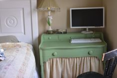 Land of Liberty by Benjamin Moore.  I was worried about the paint job, when after the second coat a stain bled through on the top of the des...