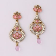Indian Pink Drop Diamond Earring
