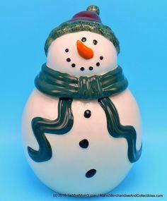 Ganz Bella Casa Snowman Cookie Jar Green Scarf Red Hat Christmas Holiday Decor…