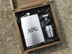 Engraved Cigar Box with Flask & Shot Glass Set by BloominBridal, $46.00