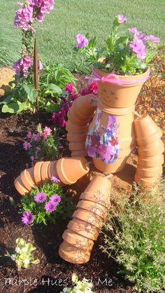 Purple Hues and Me: Terra Cotta Flower Pot Girl