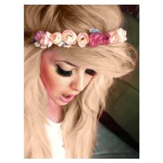 I need a headband like this! And I love how all the flowers match her hair color. I think I may have to make a headband like this for every color I dye my hair. Ombré Hair, Dye My Hair, Her Hair, Rose Hair, Hair Band, Peach Hair, Yellow Hair, Purple Hair, Pink Yellow