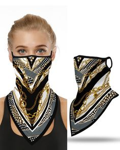 Shop Chain Print Breathable Ear Loop Face Cover Windproof Bandana Outdoors right now, get great deals at clothmyths. Diy Masque, Diy Vetement, Trend Fashion, New Fashion, Winter Fashion, Le Jolie, Creation Couture, Fashion Face Mask, Balaclava