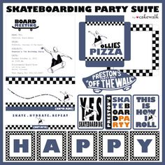 Skateboard Party Suite by Cakewalk by lovecakewalk on Etsy Birthday Themes For Boys, Boy Birthday Parties, Happy Birthday Banners, Baby Birthday, 11th Birthday, Birthday Ideas, Mini Pizzas, Skateboard Party, Skate Party