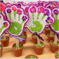 Mothers day hand flowers in pots