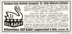 Original-Werbung / Anzeige 1928 - BÖHMISCHE BETTFEDERN / RUDOLF BLAHUT - LANGENZERFSDORF BEI WIEN - ca . 120 x 55 mm
