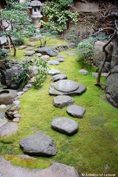 moss garden with stone path Moss grows wonderfully in Tuxedo. And its nice to wa. moss garden with Japanese Rock Garden, Japanese Garden Design, Japanese Gardens, Japanese Style, Japanese Temple, Garden Paths, Garden Art, Garden Landscaping, Garden Villa