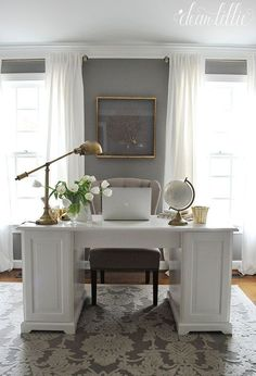 Pretty white office - like the curtains and lamp Jenni's Home - Home Office - De. Pretty white office – like the curtains and lamp Jenni's Home – Home Office – Dear Lillie S Home Design, Home Office Design, Home Office Decor, Interior Design, Home Decor, Design Ideas, Office Ideas, Office Setup, Office Designs