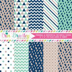 Blue and Beige Digital Paper Pack – Erin Bradley/Ink Obsession Designs