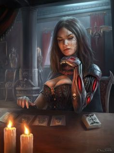 Hey, this is another illustration of Sierra, an OC of aetheldeviant. She& reading the Emperor& Tarot and obviously not too satisfied with the result I hope you like it! Dark Fantasy Art, Fantasy Girl, Fantasy Artwork, Fantasy Character Design, Character Inspiration, Character Art, Warhammer 40k, Fantasy Characters, Female Characters