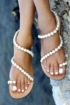 Handmade greek leather sandals decorated with Italian silver-plated chain with pearls
