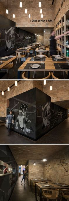 Wood shingles and a large graffiti mural by street artist Seher One covers the walls of this restaurant that hide the semi-open kitchen.