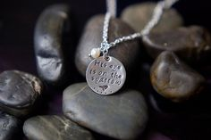 His Eye is on the Sparrow Handstamped Necklace - Hope - Inspiration - Recovery - Gift