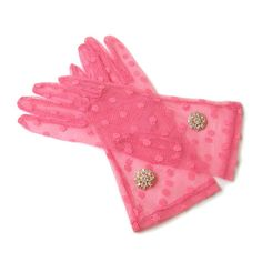 Polka Dot Gloves Pink Lace Gloves Finger Gloves by curtainroad