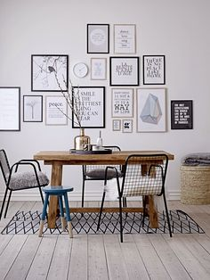 Gallery wall and mismatched chairs - Scandinavian interiors