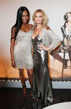 Naomi Campbell and Kate Moss wearing Kate Moss for Topshop at a private dinner for the collection launch.