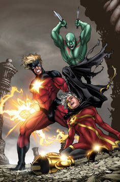 Captain Marvel vs. Quasar & Drax the Destoyer by David Yardin