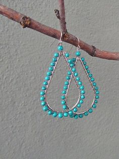 $14--turquoise + silver teardrop earrings | Redinfred