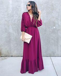 MAXI – VICI Elegant Maxi Dress, Sexy Maxi Dress, Maxi Dress With Sleeves, Ruffle Dress, Formal Dress, Casual Dresses For Women, Nice Dresses, Girls Dresses, Long Sleeve Maxi