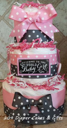 Pink and Gray Diaper Cake for a Baby Girl by 209 Diaper Cakes & Gifts