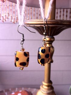 Bronze Dangle Earrings with Amber Colored and Brown Spotted Glass Beads