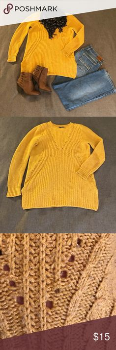 """People Will Stare. Make It Worth Their While. Fun, mustard yellow sweater by Mossimo. This is an awesome sweater for fall gorgeous color and beautiful open knitting on front. It has slits about 4"""" Up each side. In good used condition. Mossimo Supply Co Sweaters Crew & Scoop Necks"""