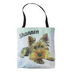 #name - #Custom Pastel Puppy Dog Yorkie Yorkshire Terrier Tote Bag