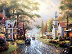 Thomas Kinkade - Hometown evening
