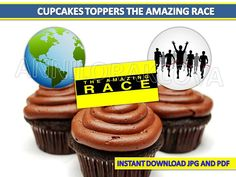 Amazing Race cupcake toppers The Amazing Race party