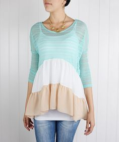 éloges Mint & Taupe Tiered Three-Quarter Sleeve Top by éloges #zulily #zulilyfinds