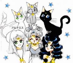 Sailor Moon: (left to right) Artemis, Diana, and Luna