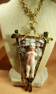 (SOLD) Antique German Frozen Charlotte Charlie Shabby Damaged Doll Wearable Art Statement Necklace Mixed Media Original OOAK