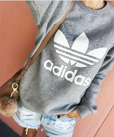 Gray Adidas sweatshirt, denim shorts ADIDAS Women's Shoes - amzn.to/2ifvgZE Adidas women shoes - amzn.to/2jB6Udm