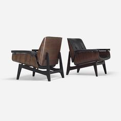 Man chic...; c. 1955 Ico and Luisa Parisi lounge chairs, pair, rosewood  lacquered wood...