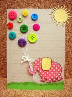 Tarjeta elefantes con botones