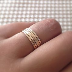 Gold Stack Rings, 14k Gold Filled Stacking 5 Ring Set,Stacking Rings, Minimalist Jewelry, Gold Band Rings, Hammered Rings