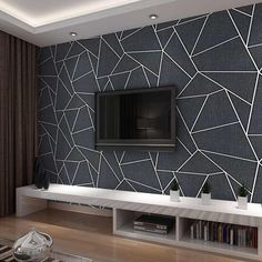 Dark Grey Luxury Geometric Wallpaper Roll Black Gray Wall Paper Modern Design Bedroom Living Room Background Home Wall Decor| | - AliExpress
