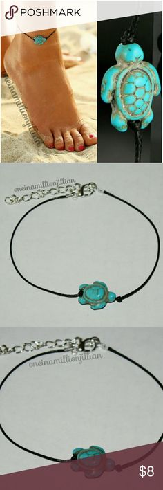 """RESTOCKED! Simple Anklet/Ankle Bracelet New - Never Worn   Measures approx - 8 3/4"""" + 2 1/2"""" extender  Black cord w/ a turqoise bead shaped as a sea turtle  Its that time of year again!! No socks, barefoot, shorts, skirts & capri pants ... don't leave your ankles unadorned! Ankle bracelets are a must!  Get yours today before they're gone! :)  Check my page for more great items & discounts. #oneinamillionjillian #anklet Jewelry Bracelets"""