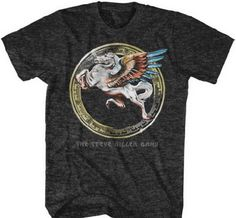This men's Steve Miller Band tshirt features the group's Pegasus horse in a…